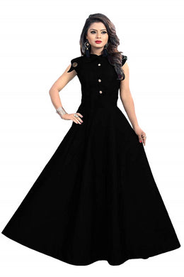 Satin fabric rich look gown with neck design spacial for party wear gown black color