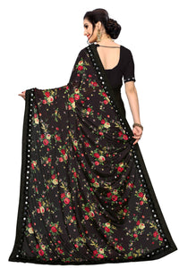 Laycra Malai Silk Ruffle Work With Digital Print Excusive Black Color Party Wear saree for women