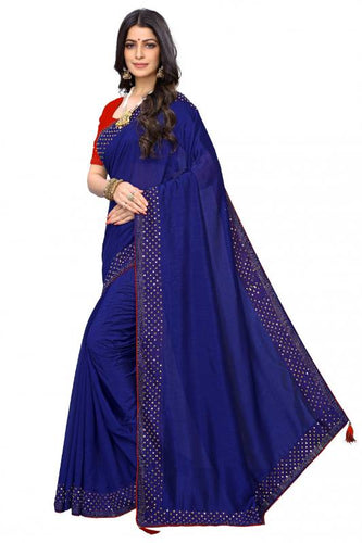 Attrective look and beautiful stone works saree, Blue color saree for women