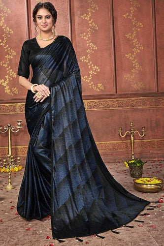 Party wear Beautiful silk saree with blouse, Blue color saree for women