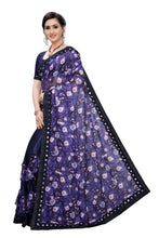 Load image into Gallery viewer, Laycra Malai Silk Ruffle Work With Digital Print Excusive Blue Color Party Wear saree for women