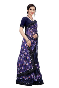 Laycra Malai Silk Ruffle Work With Digital Print Excusive Blue Color Party Wear saree for women