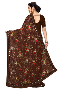 Laycra Malai Silk Ruffle Work With Digital Print Excusive Brown Color Party Wear saree for women