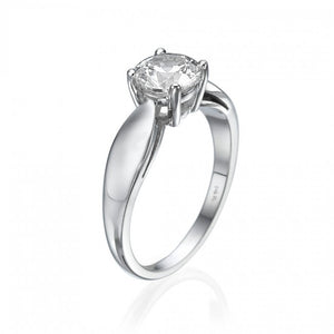 Round Diamond Shape, Anniversary gift Silver Plated Ring for women