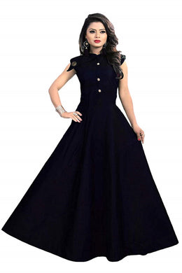 Satin fabric rich look gown with neck design spacial for party wear gown dark blue color