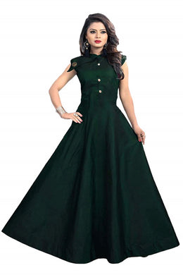Satin fabric rich look gown with neck design spacial for party wear gown green color