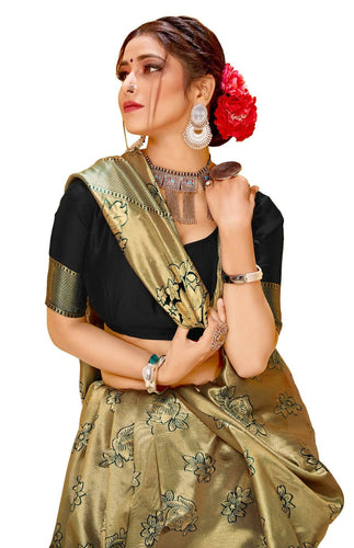 Lichi Silk jacquard woven works Party Wear Black color saree for women.
