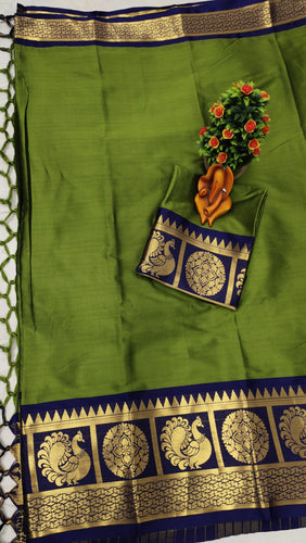 Pure Cottan Aura silk Green color saree Contrast Pallu And Maching Border Blouse