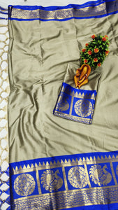 Pure Cottan Aura silk Light Grey color saree Contrast Pallu And Maching Border Blouse