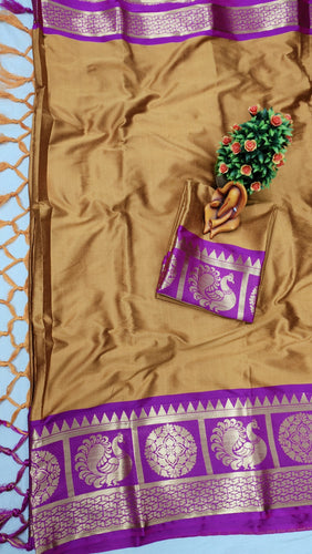 Pure Cottan Aura silk Brown color saree Contrast Pallu And Maching Border Blouse