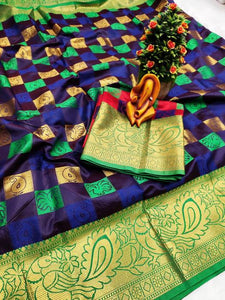 Pure Cottan Silk Purple color Saree With Contrast Pallu And Maching Blouse