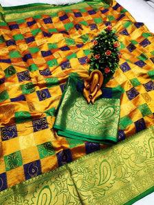 Pure Cottan Silk Yellow color Saree With Contrast Pallu And Maching Blouse