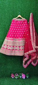 Pink Bridal Lehenga with Heavy Net Dupatta and Embroidery work.