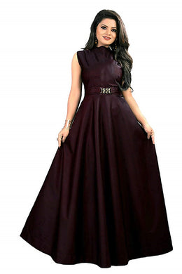 New Design Neck pattern gown, party maroon color wear simple collection for women.