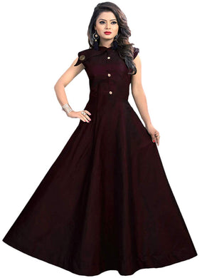 Satin fabric rich look gown with neck design spacial for party wear gown maroon color