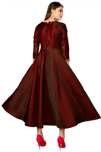 Pure Satin Fabric Koti design Gown, full sleeves with button patti Maroon color Gown.