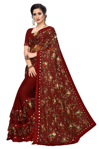 Laycra Malai Silk Ruffle Work With Digital Print Excusive Maroon Color Party Wear saree for women