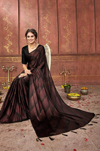Party wear Beautiful silk saree with blouse, Maroon color saree for women