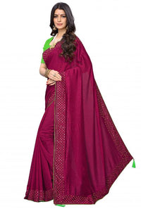 Attrective look and beautiful stone works saree, Maroon color saree for women