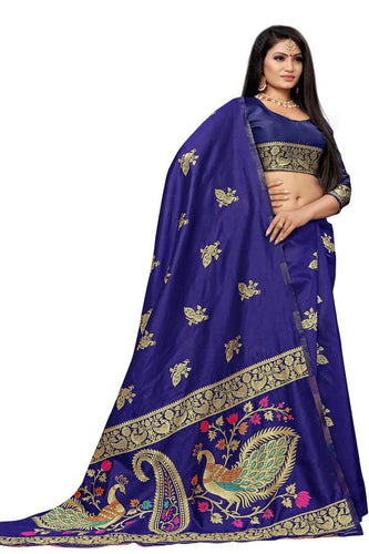 Traditional Paithani Pure Silk Kadiyaal With All Over Butti In Saree its finest and most Beautiful Navy Blue Color saree for women