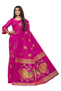 Traditional Paithani Pure Silk Kadiyaal With All Over Butti In Saree its finest and most Beautiful Pink Color saree for women
