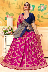 Banarasi Lichi Silk jacquard woven work Looks very attractive Pink color saree for women