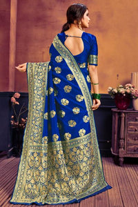 Beautiful woven design complete Party Ware jacquard woven works Blue color saree for Women