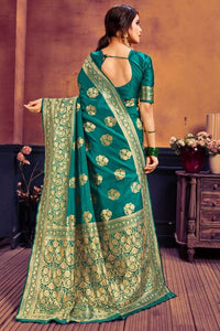 Beautiful woven design complete Party Ware jacquard woven works Green color saree for Women