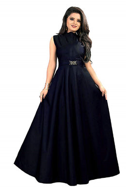 New Design Neck pattern gown, party Nevy Blue color wear simple collection for women.