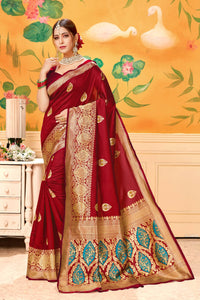 Banarasi Pattern With Heavy Jecquard weaving Saree With Attractive Rich Pallu and weaving Blouse Red  color saree