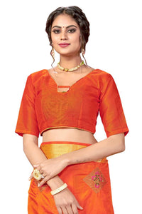 Embroidery Work and Jacquard Woven Pattu Border Sana Silk with Blouse Orange color saree