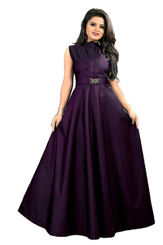 New Design Neck pattern gown, party Purple color wear simple collection for women.