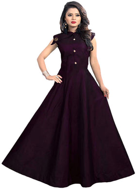 Satin fabric rich look gown with neck design spacial for party wear gown purple color