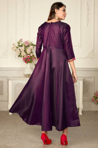 Pure Satin Fabric Koti design Gown, full sleeves with button patti Purple color Gown.