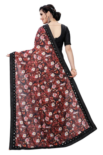 Laycra Malai Silk Ruffle Work With Digital Print Excusive Red Color Party Wear saree for women