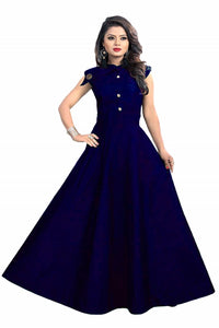 Satin fabric rich look gown with neck design spacial for party wear gown Royal Blue color