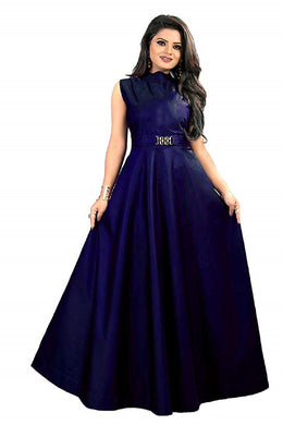 New Design Neck pattern gown, party Royal Blue color wear simple collection for women.