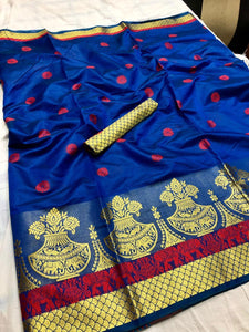 Pure Cotton Silk Saree Blue color With Contrast Pallu And Contrast Matching Blouse