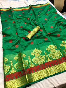 Pure Cotton Silk Saree Green color With Contrast Pallu And Contrast Matching Blouse