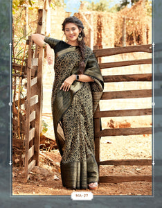 New Blod Design Cotton silk sari with beautiful border Black shade saree for women