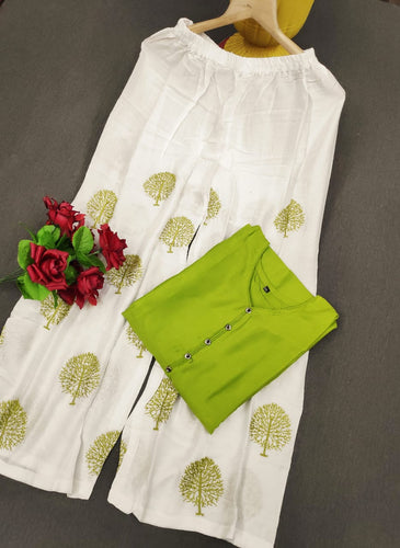 New Embroidery designer Plazo with Rayon top Green color pair for women