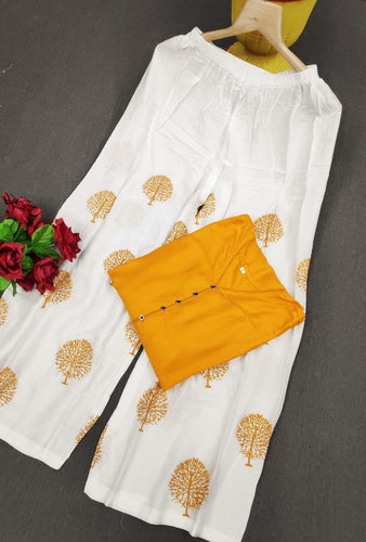New Embroidery designer Plazo with Rayon top Yellow color pair for women