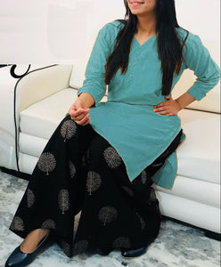 Rayon Kurtis with Embroidery work design Rama color for women