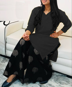 Rayon Kurtis with Embroidery work design Black color for women