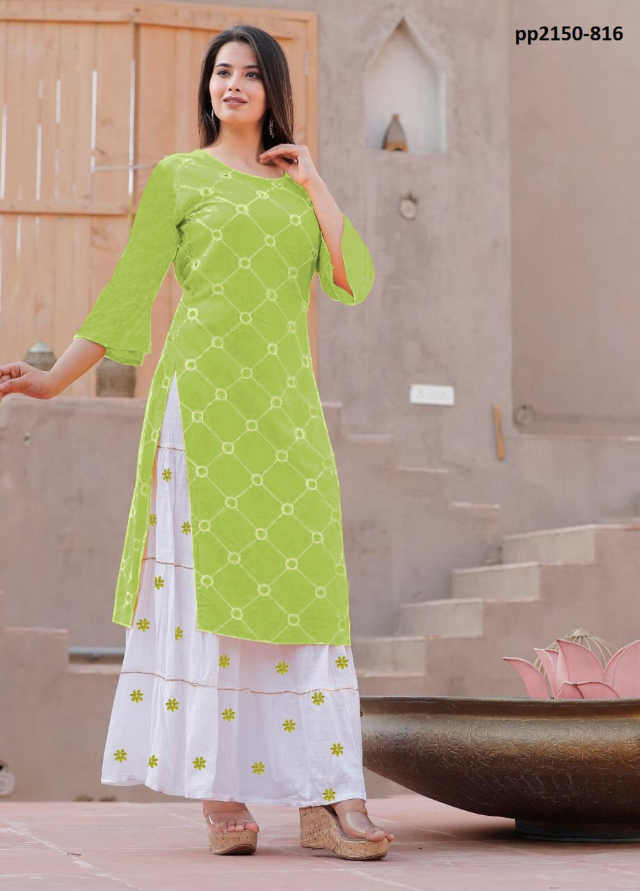 Heavy Rayon Embroidery work Top and Skirt new Design pair Light Green color for Women