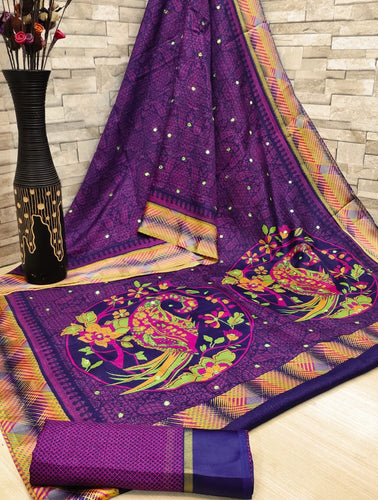 Soft cotton patta saree digital print with mirror work Purpale color saree for women