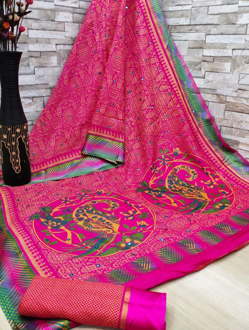 Soft cotton patta saree digital print with mirror work Pink color saree for women