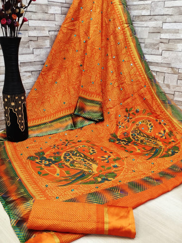 Soft cotton patta saree digital print with mirror work Orange color saree for women