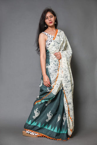 mul mul cotton print saree with pom pom lace saree collection. Greay white color saree