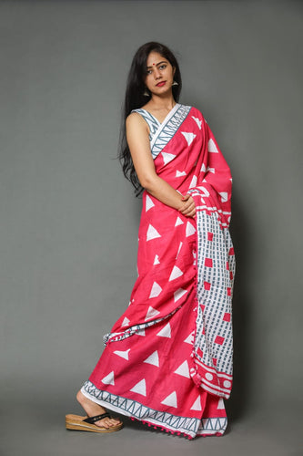 mul mul cotton print saree with pom pom lace saree collection. Pink chek color saree